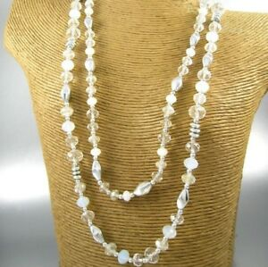Long-Clear-Crystal-Beads-Fashion-Necklace-Earrings-Women-Jewelry