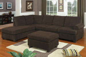 Chocolate 3pc Sectional Sofa Set Sofa Couch Reversible Chaise w Cocktail Ottoman