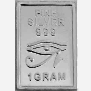USA-1gr-999-Fine-Silver-Art-Bar-Egyptian-039-Horus-All-Seeing-Eye-039-UNCIRCULATED