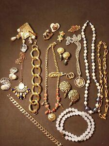 lot de bijoux anciens et vintage, doré en l'état
