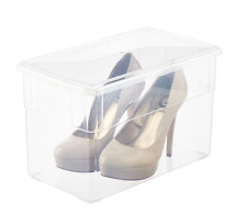 Stackable Clear Tall Heels Shoe Box with Lids Storage Closet Organizer Set of 10