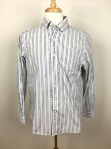 06883f1885 Chaps Mens Dress Shirt Size 16 32 33 Blue Gray Striped Button Down ...