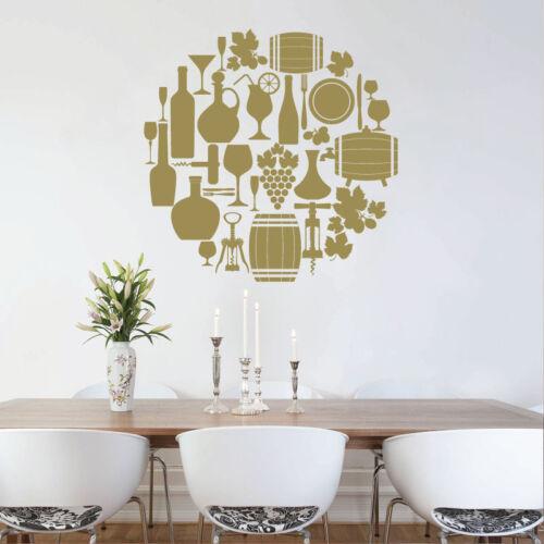 Dining Room Restaurant Wall Art Sticker Food /& Drink Wine
