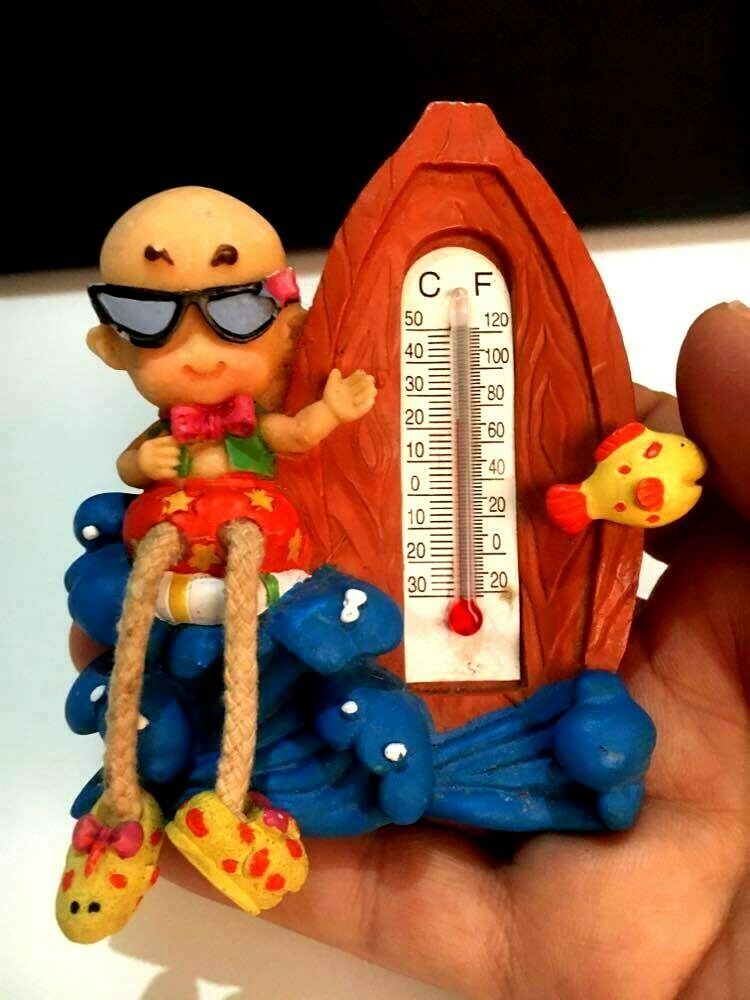 Thermometer ceramic Resin Fahrenheit Doll moveable Legs 3.5