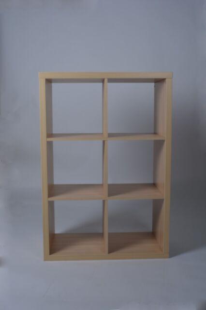 Cube 3x2 Storage Shelving Unit in Beech Effect & Hygena Squares Plus 6 Cube Storage Unit - Beech Effect 6198435 UK ...