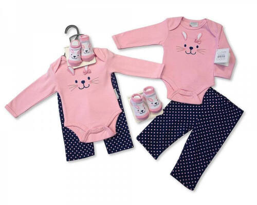 3 Piece Little Bunny Layette Clothing Outfit 0-3 mths Gift Set by Nursery Time