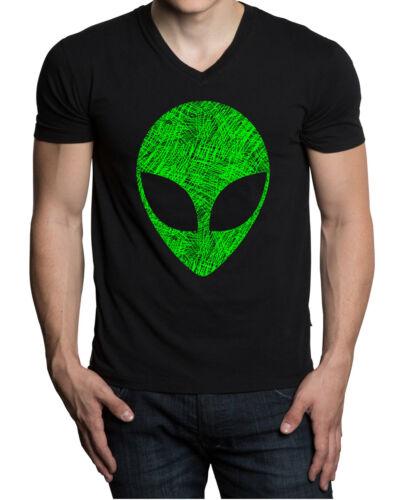 Men/'s Sketch Alien Head Black V-Neck Tee Shirt Galaxy Fantasy Space High Believe