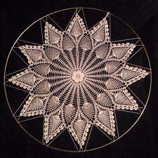 "Vintage Pretty Fine Hand Crochet Lace Star/Flower 12 Point Decoration Cream 13"""
