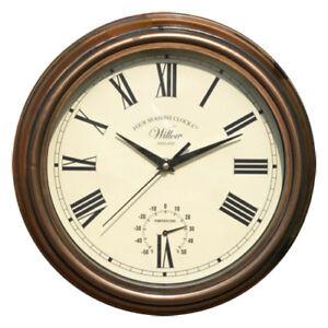 """Vintage Cuivre Effet 12"""" Willow Horloge Murale Crème Cadran Aiguilles Noires Thermomètre-afficher Le Titre D'origine Top PastèQues"""