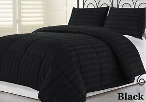 All-Season-Down-Alternative-Comforter-Egyptian-Cotton-Cal-King-Size-Black-Stripe