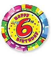 Happy 6th Birthday Balloons Party Ware Decoration Boy Girl Novelty Gift Helium