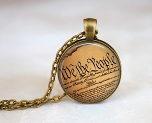 USA Constitutional Rights Art Print Glass Cabochon Bronze chain Necklace