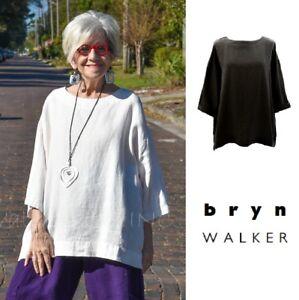 BRYN-WALKER-Light-Linen-RESORT-SHIRT-Boxy-Oversize-Tunic-XS-S-M-L-XL-WHITE-BLACK