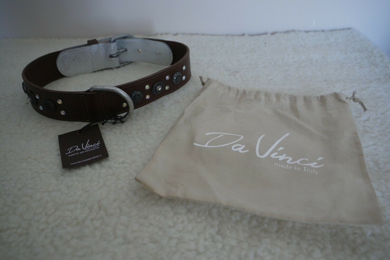 Davinci Leather Dog Collar With Studs And Rhinestones Size 65cm
