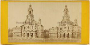 Eglise Da La Sainte Trinità Parigi Francia Foto Stereo c1870 Vintage Albumina