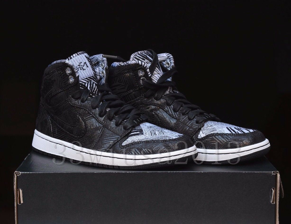AIR JORDAN 1 RETRO HIGH BHM 579591-010 Black/White Size 7 Size Rare Size 7 DS a91018