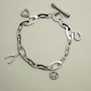 32b4749a457e4 Details about Roberto Coin 18kt White Gold Diamond Ruby Sapphire Chic &  Shine Charm Bracelet