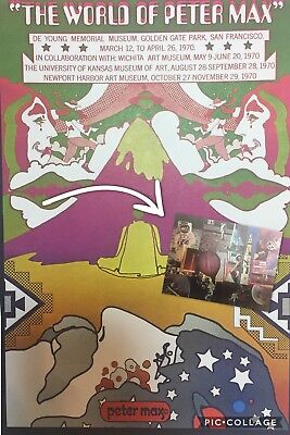"""Vtg The World Of Peter Max Man On The Moon Psychedelic Art Poster 1971 11""""x16"""""""