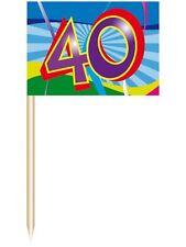 Partypicker Deko 50 St Partyfahne Zahl 40 Geburtstag Partyspieße