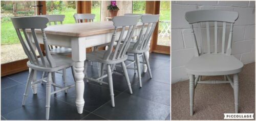 Painted Solid Wood Country Farmhouse Style Slat Back Kitchen Dining Chairs