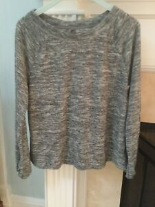 Lou-amp-Grey-Women-Size-L-Gray-Top-Long-Sleeve-Terry-Marled-Ruched-Blouson-Cuff