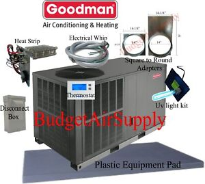 3-Ton-14-seer-Goodman-HEAT-PUMP-034-All-in-One-034-Package-Unit-GPH1436H41-INSTALL-Kit