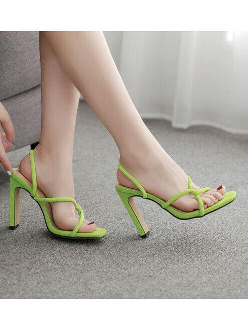 Sandali pelle sintetica vert ciabatte sabot eleganti evento stiletto 12  cw053