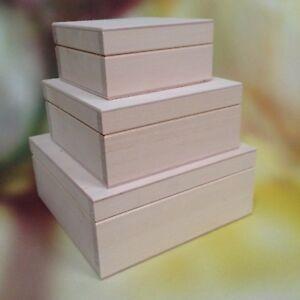 3-Set-in1-in-legno-semplice-di-tre-scatole-per-gioielli-Handcraft-DECOUPAGE