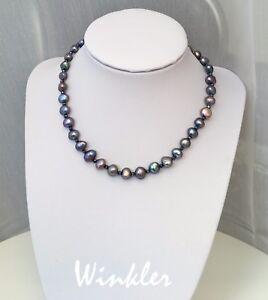 Perlenkette Lang 125cm aus echten Perlen Rosa Puderrosa mit Kettenverkürzer