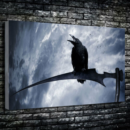 Creepy Crow On A Scythe Poe Printed Canvas Picture Multiple Sizes 30mm Deep