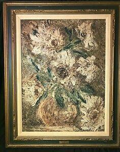 Original-Mid-Century-Impressionist-Oil-Painting-on-Modeling-Paste-034-Flowers-034