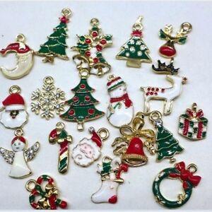 Metal-Enamel-Alloy-Mixed-Christmas-Charms-19pcs-Pendants-Party-Decor-Ornament-A