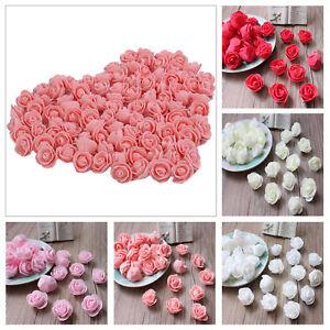 50Mousse-Artificielle-Fleur-Rose-Tetes-Mariage-Bouquet-De-Decoration-En-Vrac-FE