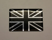 UNION JACK FLAG Sticker/Decal 64mm - CHROME & BLACK WITH HIGH GLOSS DOMED GEL