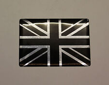 MINATURE UNION JACK FLAG Sticker/Decal - CHROME & BLACK - HIGH GLOSS DOMED GEL
