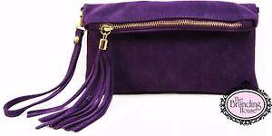 ladies-dark-purple-suede-tassel-clutch-bag