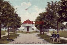 pre-1907 ERIE, PA. BLOCK HOUSE AT SOLDIERS & SAILORS HOME two men on bench 1906