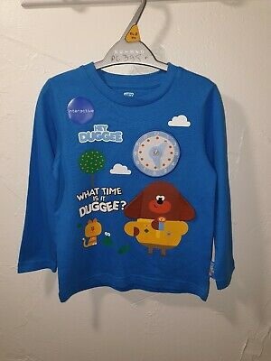 Boys T-Shirt Interactive What Time Is It Hey Duggee Long Sleeve Top 1-6 Years