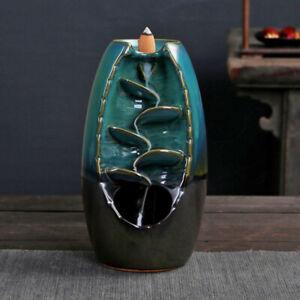 Ceramic-Glaze-Waterfall-Backflow-Smoke-Incense-Burner-Censer-Holder-Cones-Home