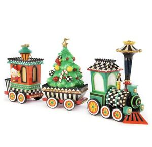 MacKenzie-Childs Christmas Train Ornament - Set of 3 - NIB