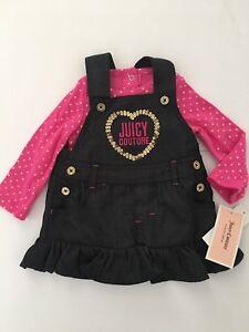 c800f71ba $60 Juicy Couture Baby Girl's Foil Dot Bodysuit & Denim Jumper Set ...