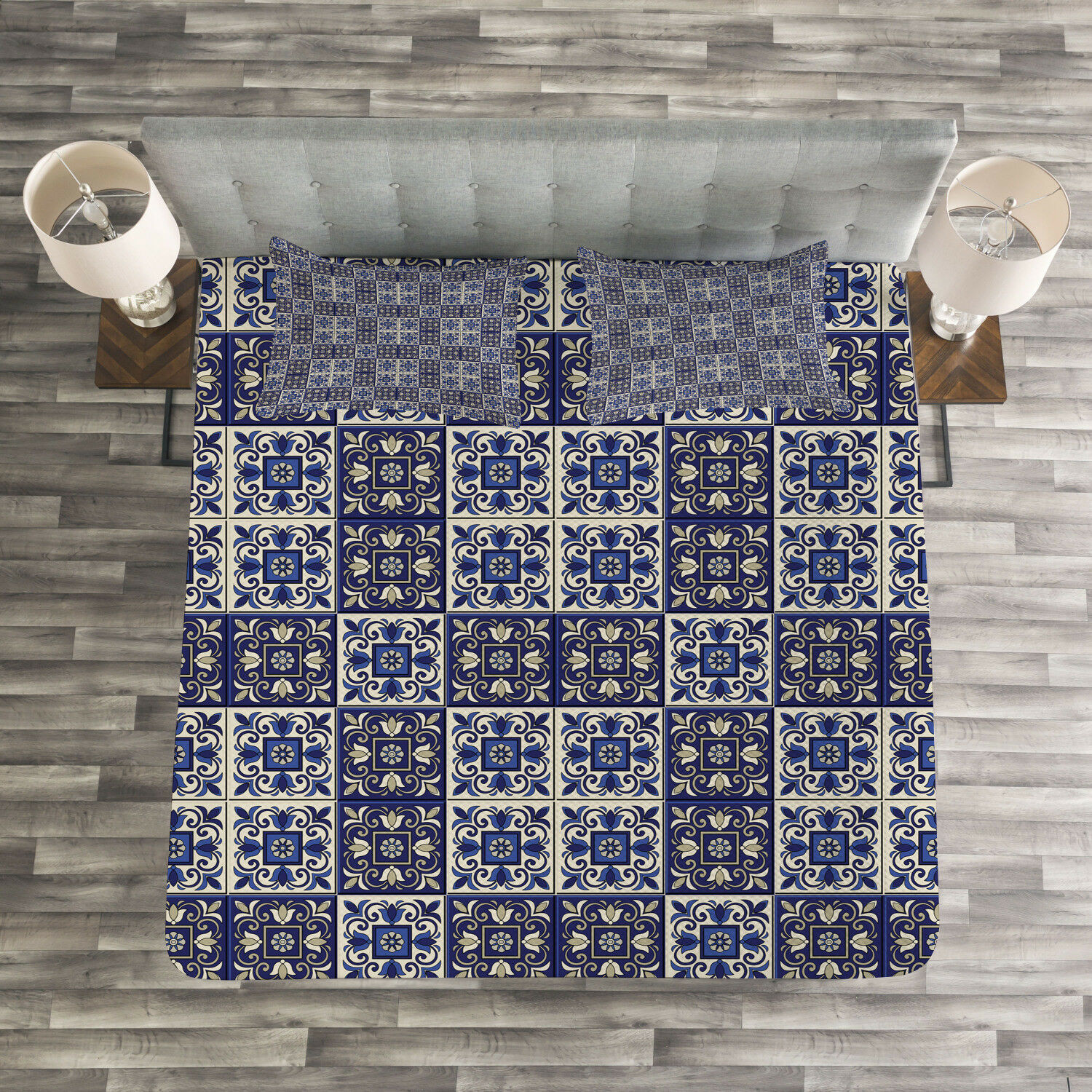 Mgoldccan Quilted Bedspread & Pillow Shams Set, Squares blueeeejo Tiles Print