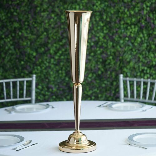 """2 GOLD METAL 29/"""" tall Trumpet Vases Candle Holders Wedding Party Centerpieces"""
