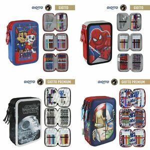 Maeppchen-Federmappe-Etui-3-Fach-gefuellt-Frozen-Avengers-Paw-Patrol-Spiderman