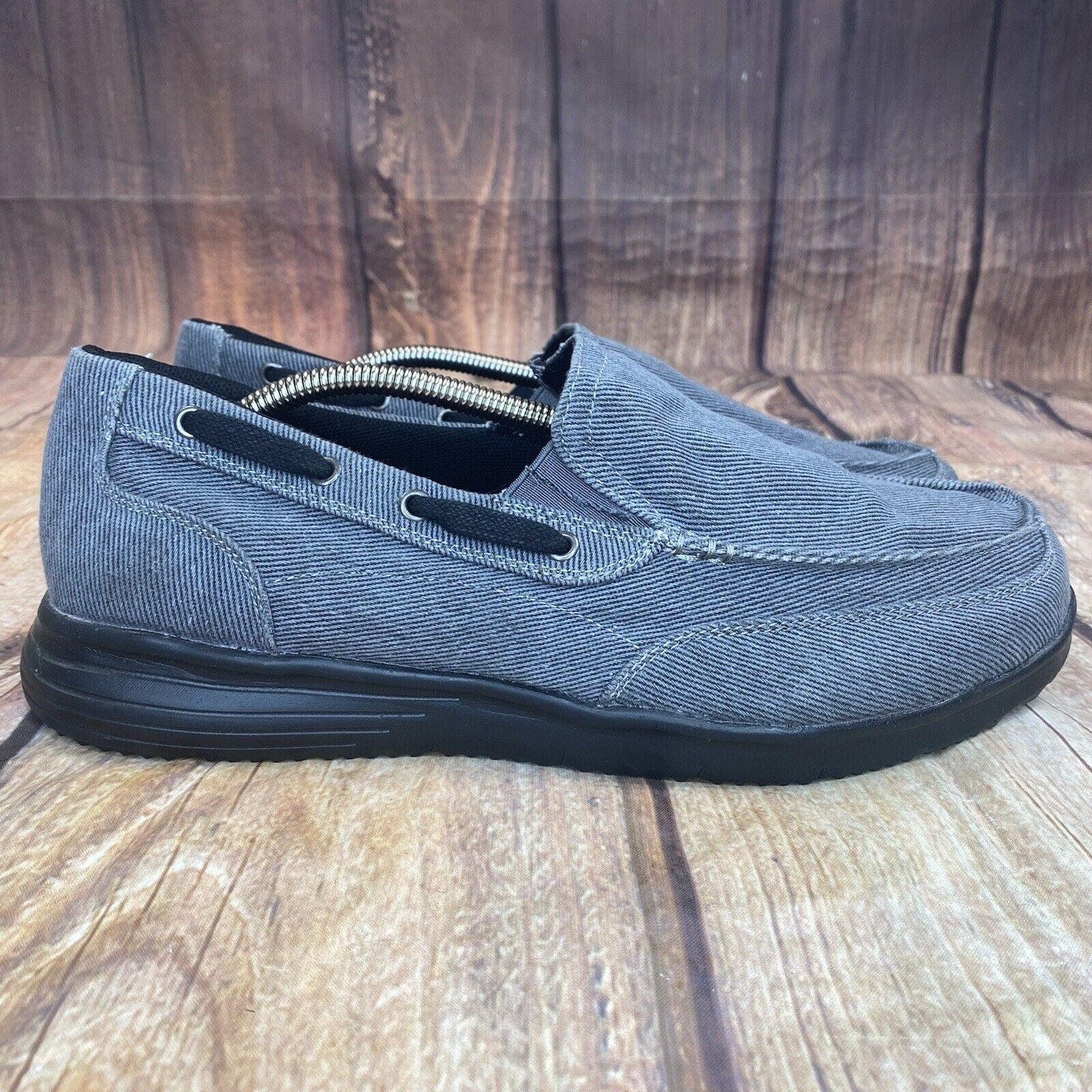Propet Swayer Canvas Boat Shoes Men Size 9.5 5E Slip On Deck Shoes - Gray - New