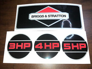 Briggs & Stratton 3 4 5-hp 1990's Black Indented Shroud Labels Decals set of 4