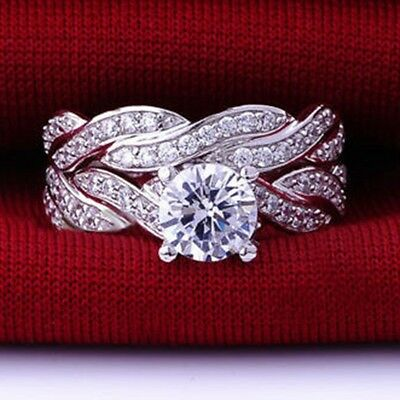 SZ 3-12 925 Sterling Silver Wedding Engagement Ring Pair Set Propose Bridal Halo