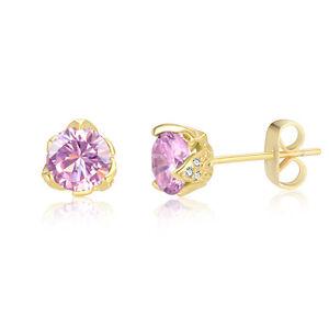 Bella 18ct Gold Amethyst Zirconia Drop//Dangle Earrings Wedding-Gift-Jewellery
