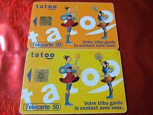 RARE-TELECARTE-F-690-A-V-TATOO-R-V-JAUNE-gem-1B-50-u-TBE-VALIDE