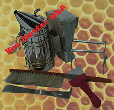 Bee Hive Basic inspection Tool Kit,5 Pcs,Smoker+Frame Grip+Brush+Hive Tool+Fork.